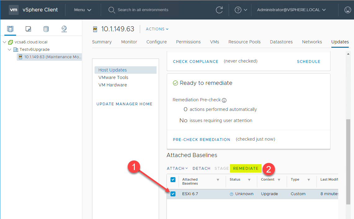 Select-the-attached-ESXi-6.7-upgrade-baseline-and-remediate Upgrade vSphere ESXi 6.0 to 6.7 in Three Ways