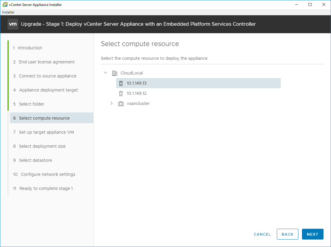 Select-the-compute-resource-you-want-to-house-the-new-VCSA-6.7-appliance Upgrade vSphere 6.0 to 6.7 - vCenter Server VCSA