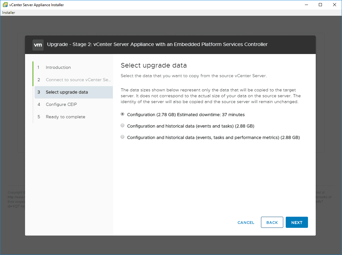 Select-upgrade-data-you-want-to-be-brought-over-from-the-source-appliance Upgrade vSphere 6.0 to 6.7 - vCenter Server VCSA