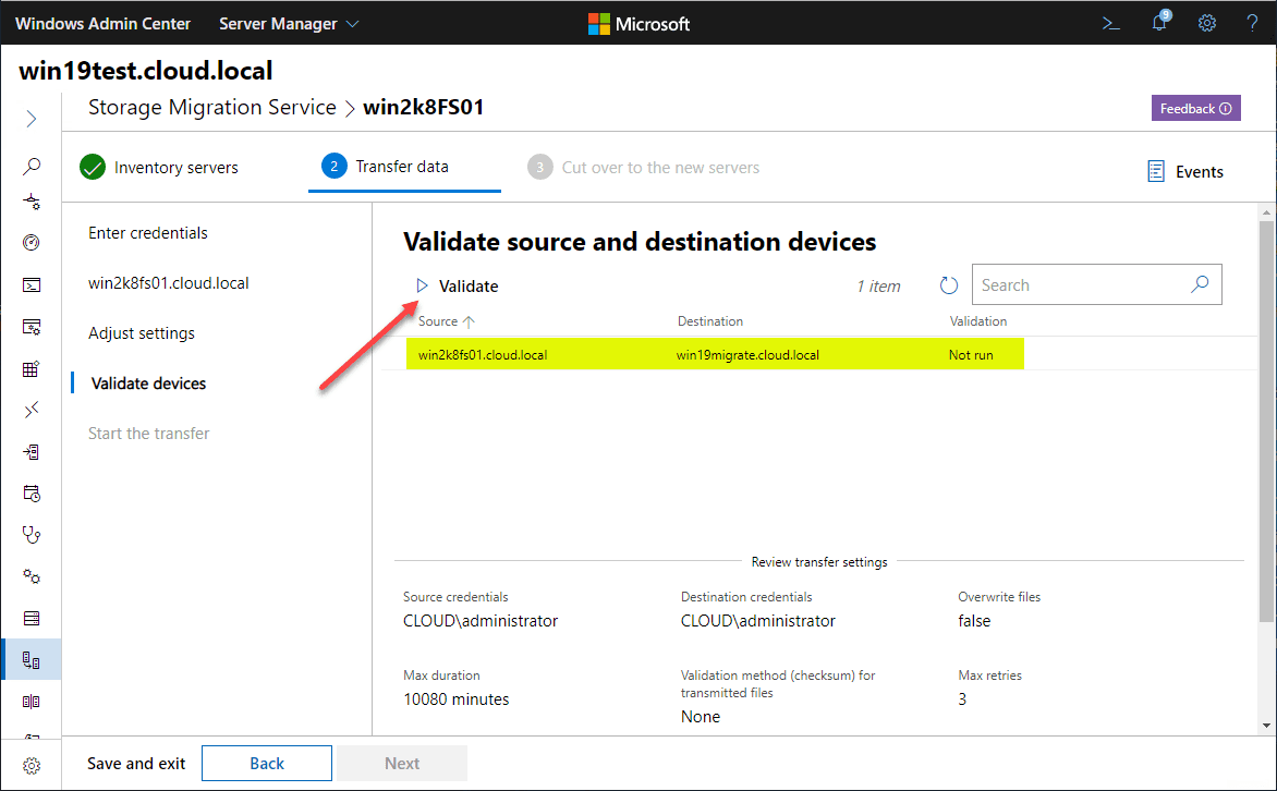 Validate-source-and-destination-servers-in-Storage-Migration-Service Migrate Windows Server 2008 R2 to 2019 with Storage Migration