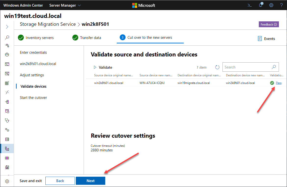Validation-passes-ready-to-proceed Migrate Windows Server 2008 R2 to 2019 with Storage Migration