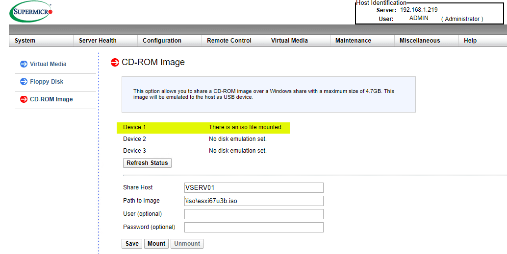 Checking-the-status-of-the-mounted-ISO-image VMware ESXi Remote Install using SuperMicro IPMI
