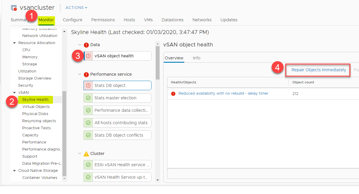 Choosing-to-repair-vSAN-objects-immediately Migrate 2-Node VMware vSAN to 3-node Configuration