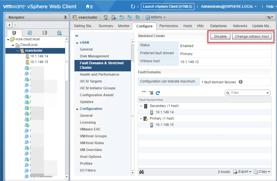 Disabling-the-streched-cluster Migrate 2-Node VMware vSAN to 3-node Configuration
