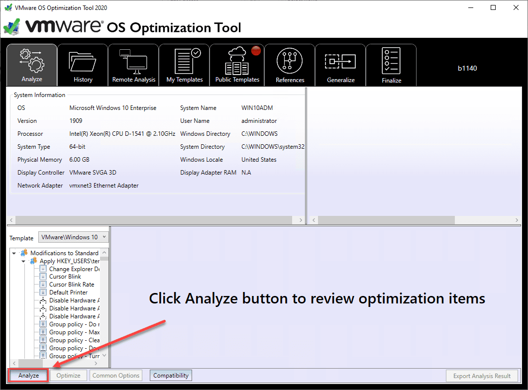 Launching-the-VMware-OS-Optimization-Tool-and-analyzing-for-optimizations VMware OS Optimization Tool New Release Download