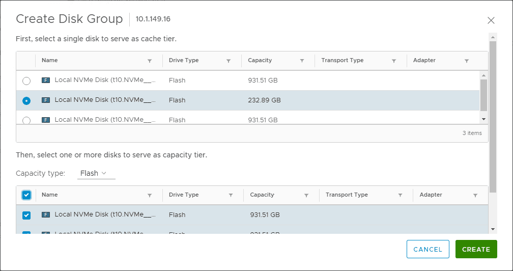 Selecting-disks-for-the-new-vSAN-disk-group Migrate 2-Node VMware vSAN to 3-node Configuration