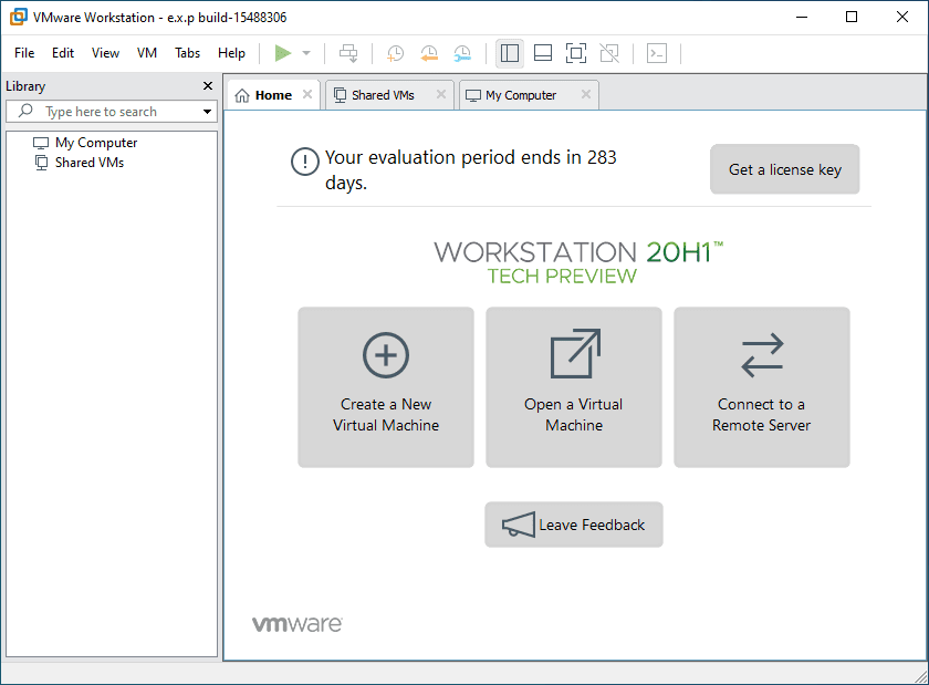 The-new-Tech-Preview-user-interface VMware Workstation 20H1 Tech Preview Download Released New Features