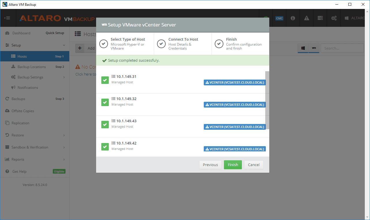 vCenter-Server-connection-is-made-and-host-information-is-synchronized Altaro VM Backup Review Part 1