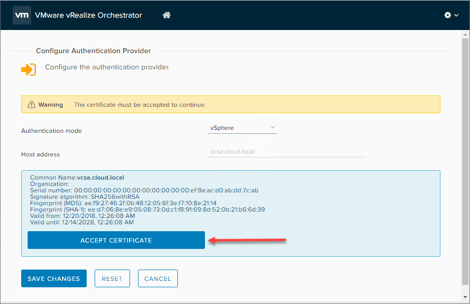 Accept-vCenter-Server-certificate-for-vSphere-authentication-provider-for-vRO vRealize Orchestrator 8.0 Download Install and Configuration