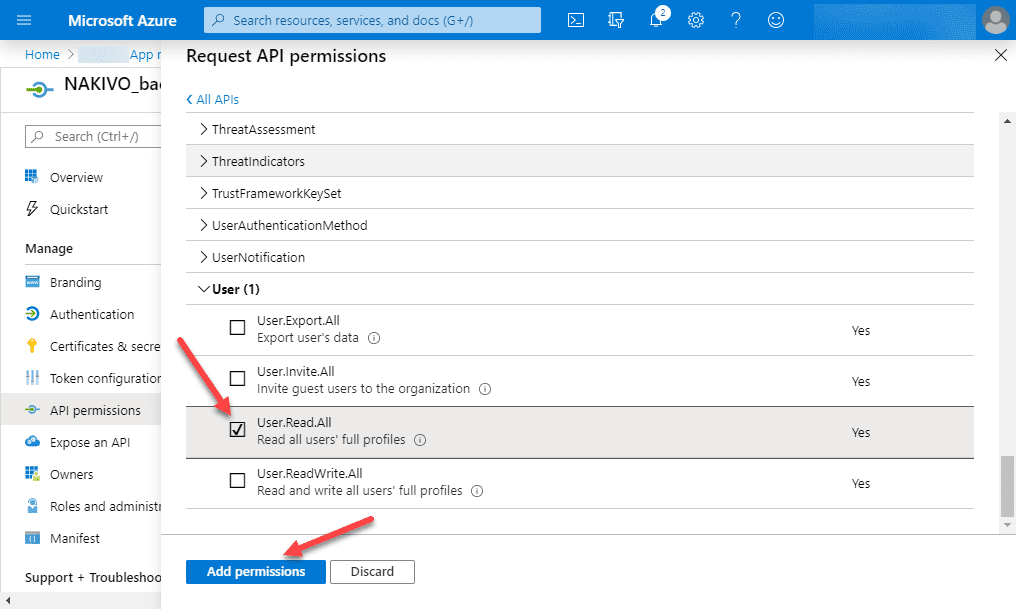 Adding-user-permissions-for-the-new-NAKIVO-API-application Backup Office 365 Email with NAKIVO