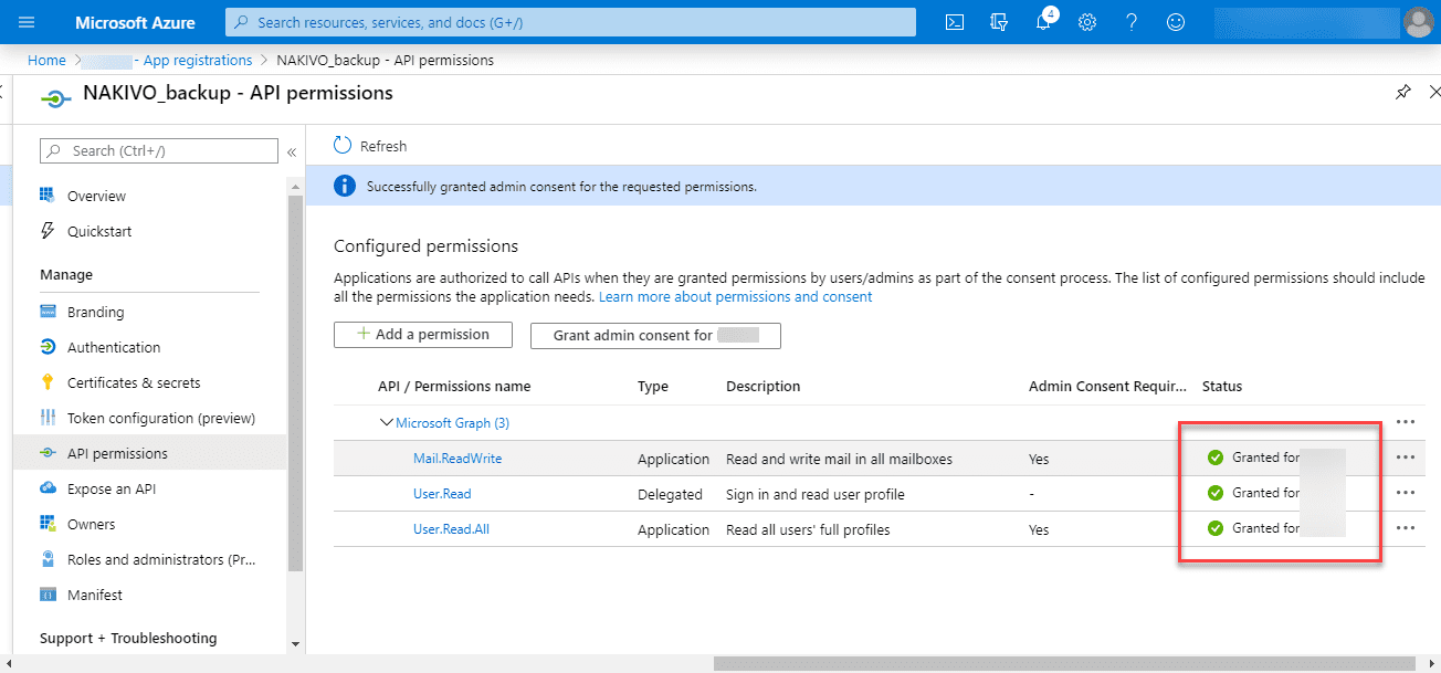 Admin-consent-granted-for-new-permissions-added Backup Office 365 Email with NAKIVO