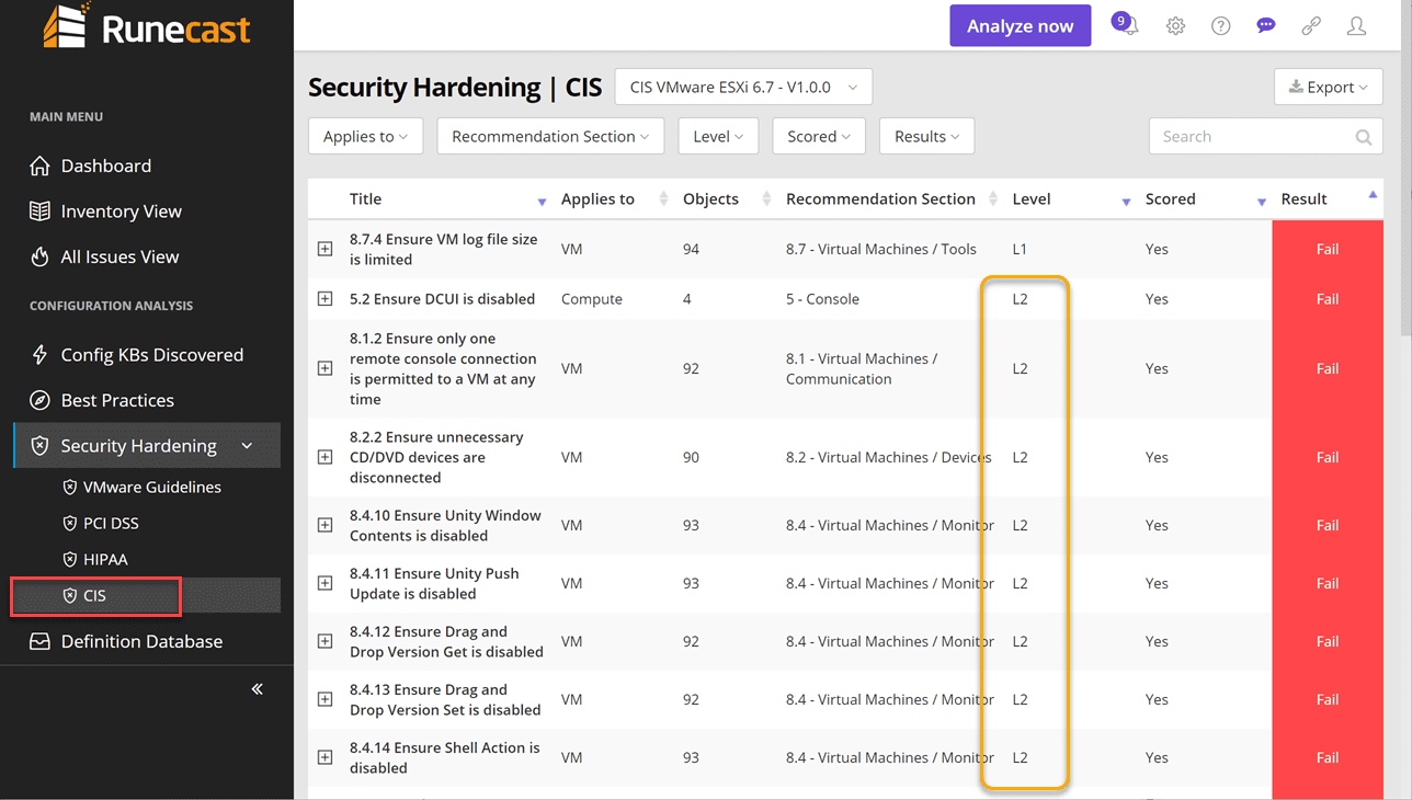 CIS-CSC-Level-2-findings CIS Critical Security Controls VMware Scan with Runecast 4.1