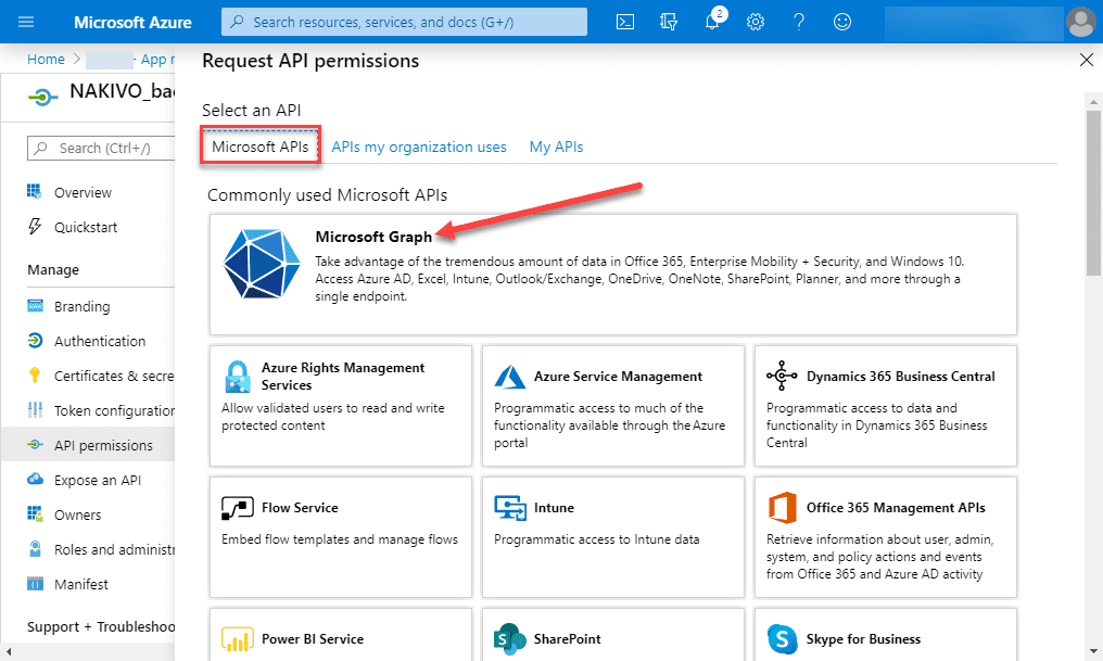 Choose-Microsoft-Graph-to-add-permissions Backup Office 365 Email with NAKIVO