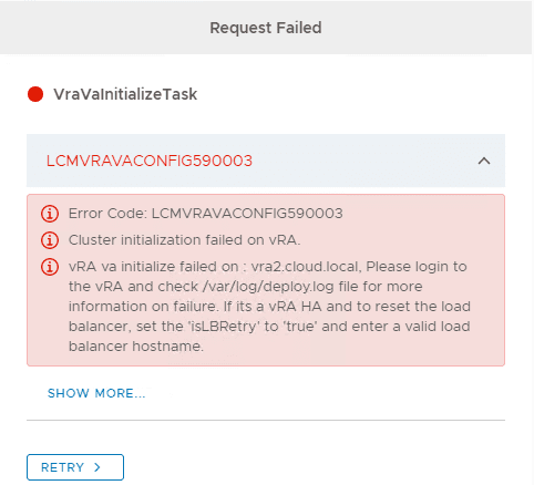 Displaying-more-details-of-the-LCMVRAVACONFIG590003-error-deploying-vRealize-Automation-8.0.1 vRealize Automation Easy Installer LCMVRAVACONFIG590003 Error