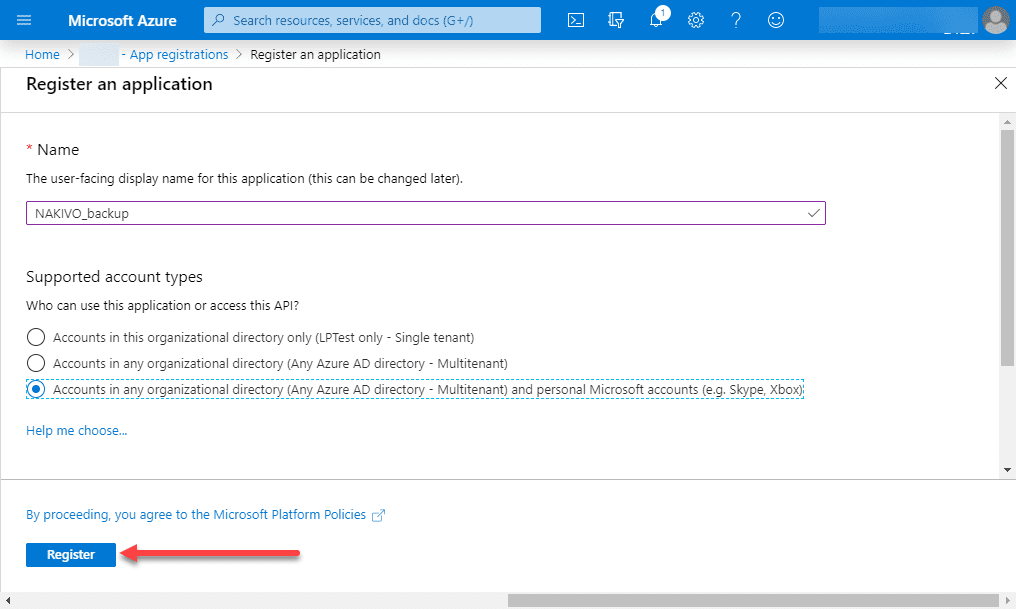 Naming-the-new-Azure-application-to-register-with-Azure-AD Backup Office 365 Email with NAKIVO