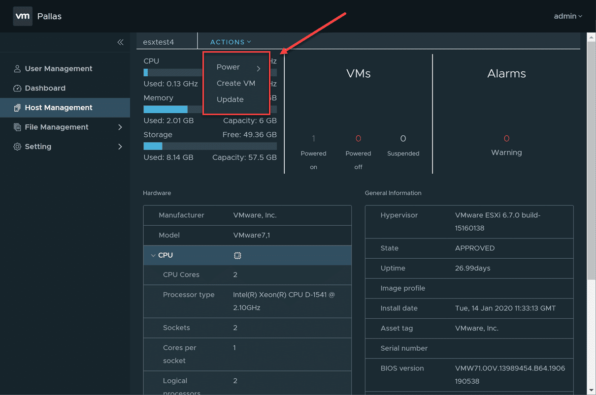 Pallas-host-management-actions Manage ESXi Hosts Without vCenter using VMware Pallas