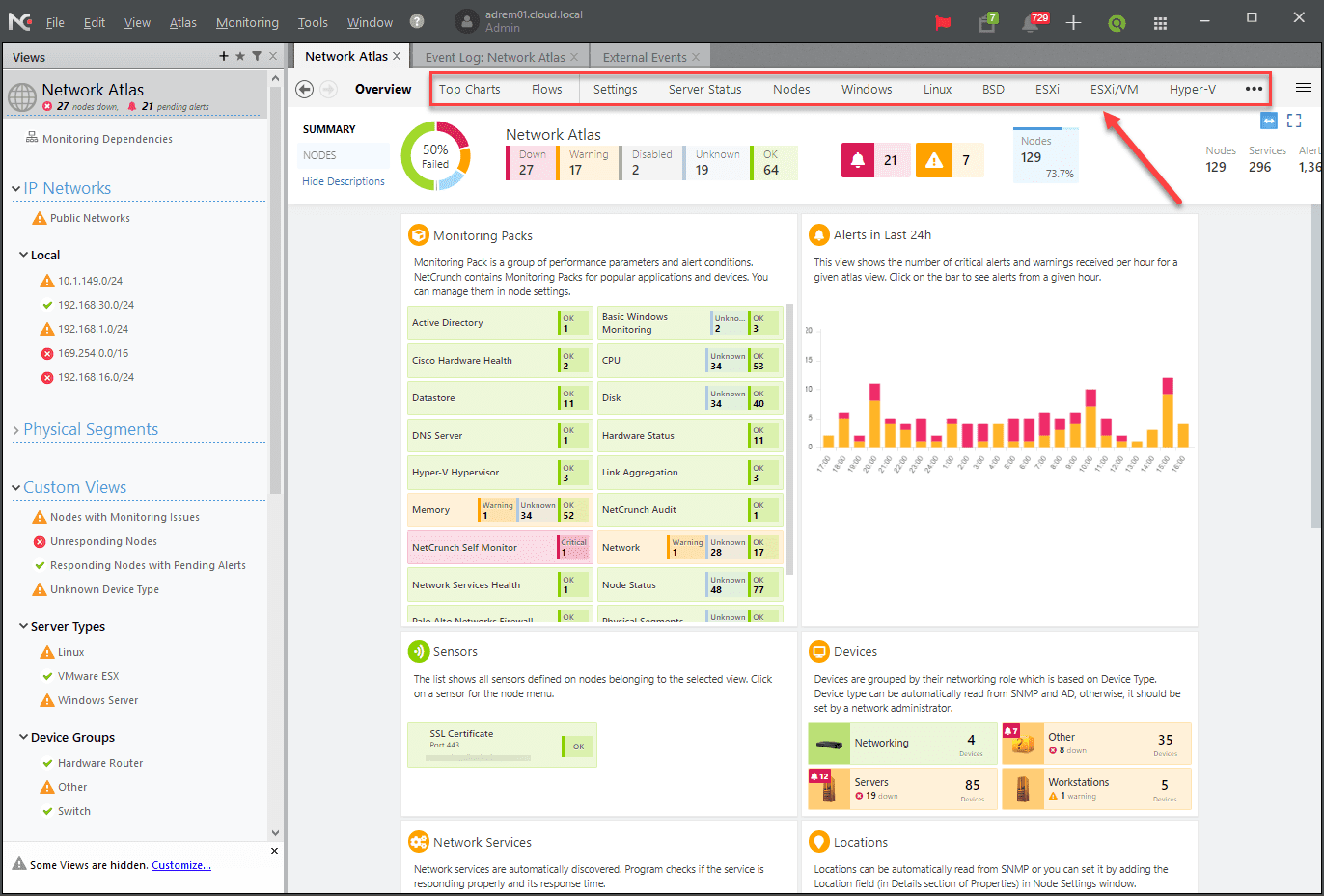 The-network-atlas-displays-the-overall-health-of-your-environment-as-well-as-relevant-KPIs NetCrunch Network Monitoring Service Review