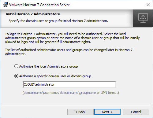 Authorize-a-domain-user-or-group-as-Horizon-administrators