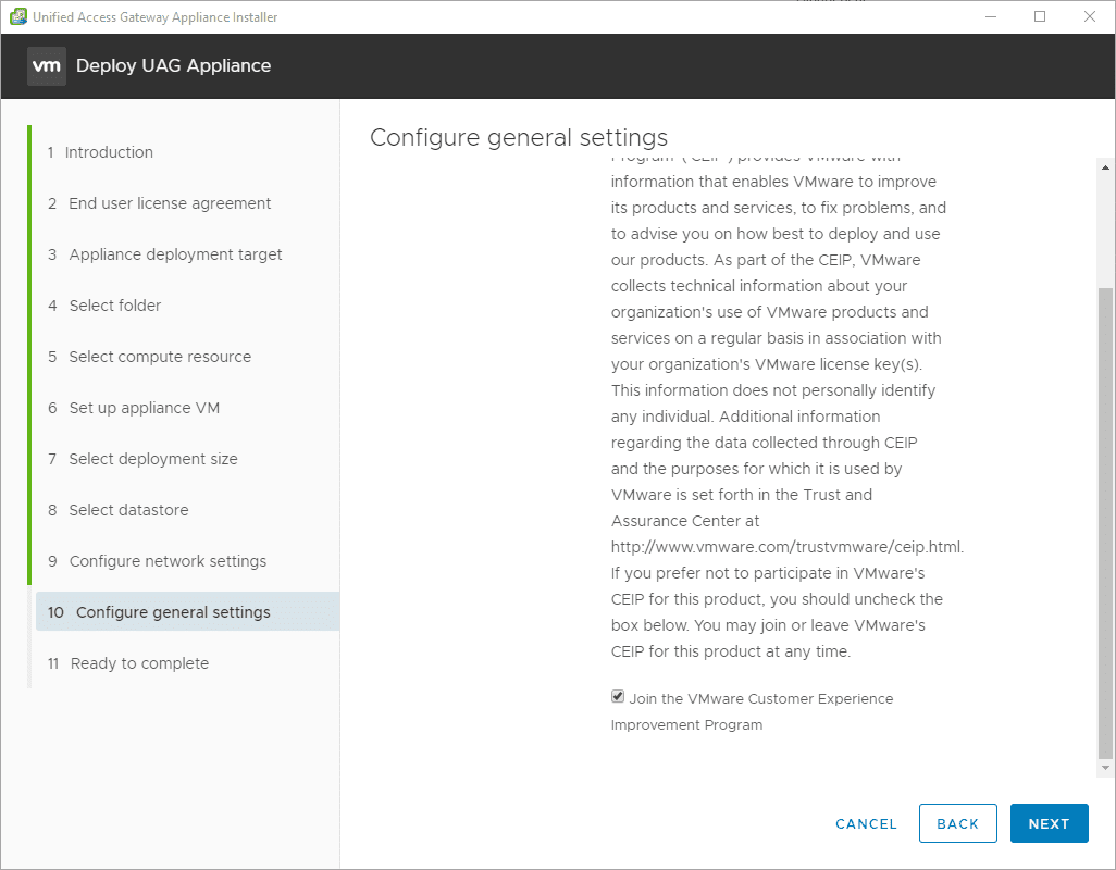 Configure-general-settings-including-CEIP Deploy VMware UAG with New Unified Access Gateway Deployment Utility Fling
