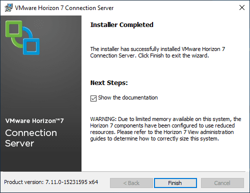 Horizon-Connection-Server-7.11-installed-successfully
