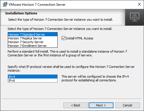 Select-the-Horizon-Connection-Server-installation-type-and-IP-configuration