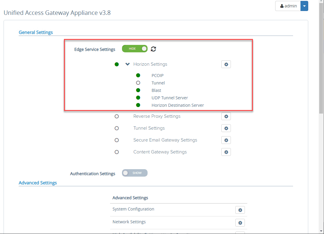 You-should-see-green-bubbles-for-successful-connectivity-to-your-Horizon-Connection-Server VMware Unified Access Gateway UAG 3.8 Installation and Configuration