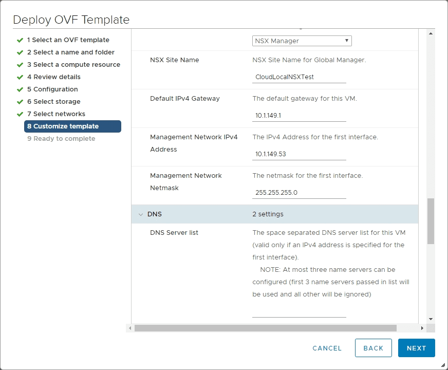Fill-in-the-remaining-network-configuration-for-NSX-T-3.0-Manager-deployment VMware NSX-T 3.0 Manager Installation Configuration and Error