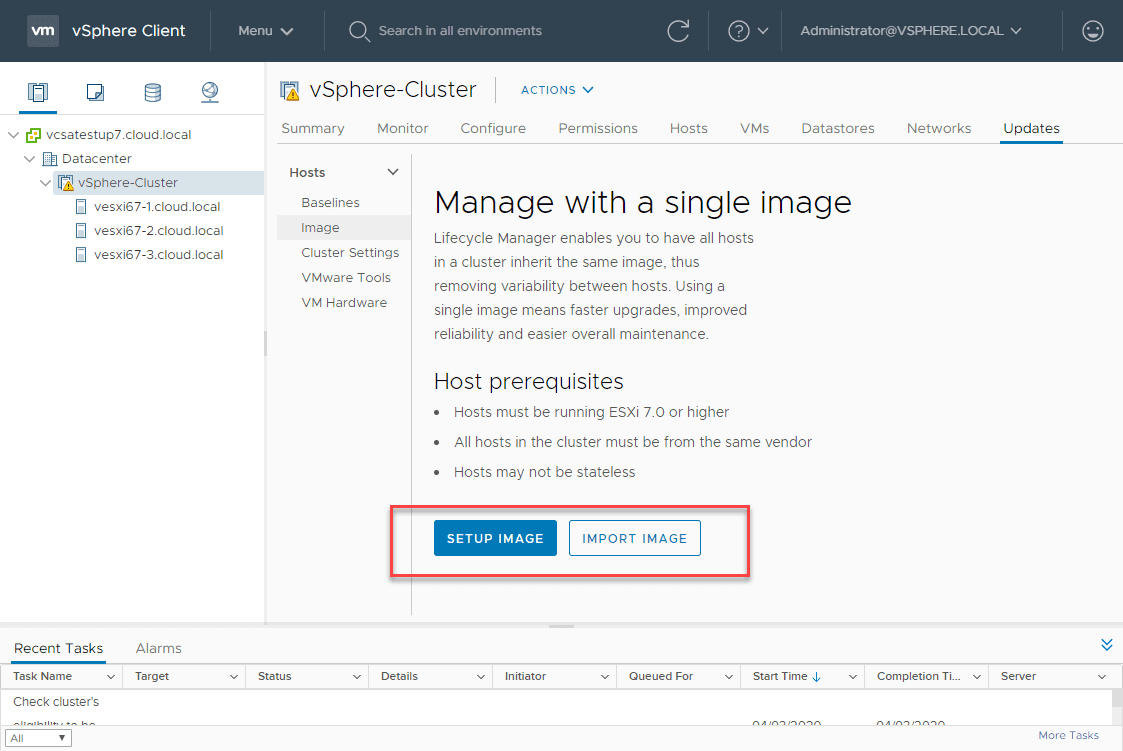 New-Image-management-in-the-vSphere-Lifecycle-Manager Upgrade to ESXi 7 with vSphere Lifecycle Manager