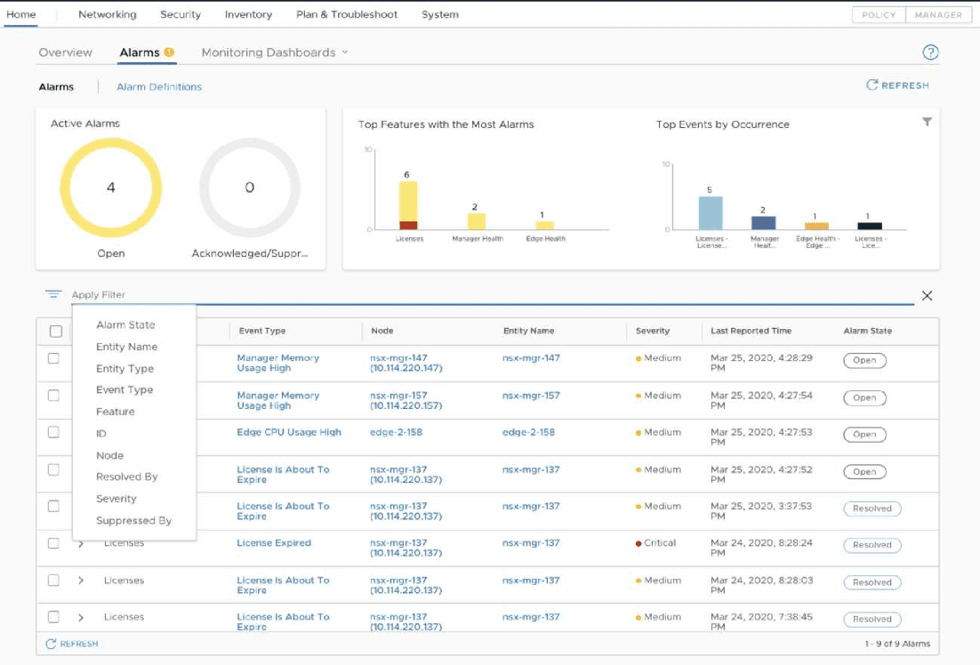 New-alarms-dashboard-in-NSX-T-3.0-1 VMware NSX-T 3.0 Released with New Features