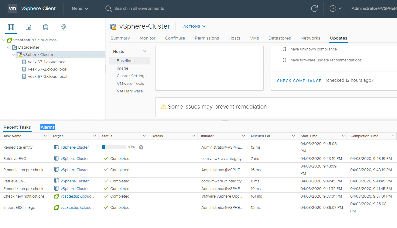 Remediate-task-begins-in-vCenter-Server-1 Upgrade to ESXi 7 with vSphere Lifecycle Manager