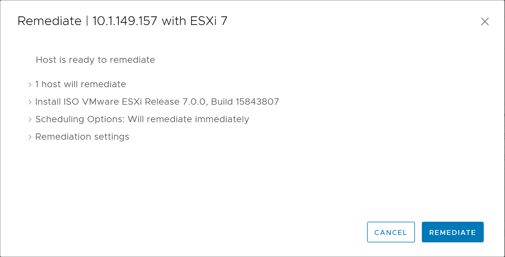 Remediating-a-single-ESXi-6.7-U3-host-to-ESXi-7-1 Upgrade to ESXi 7 with vSphere Lifecycle Manager