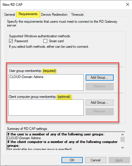 Add-user-group-memberships-and-computer-group-memberships Remote Desktop Gateway Server 2016 or 2019 Configuration