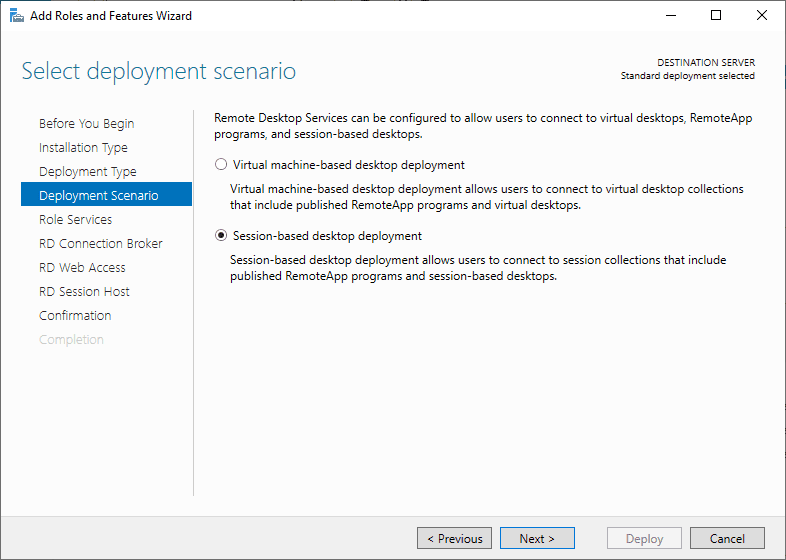 Choose-the-deployment-scenario Windows Server 2019 RD Web Access Configuration