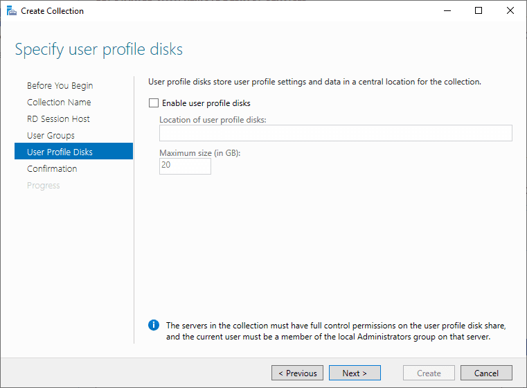 Configure-user-profile-disks Windows Server 2019 RD Web Access Configuration