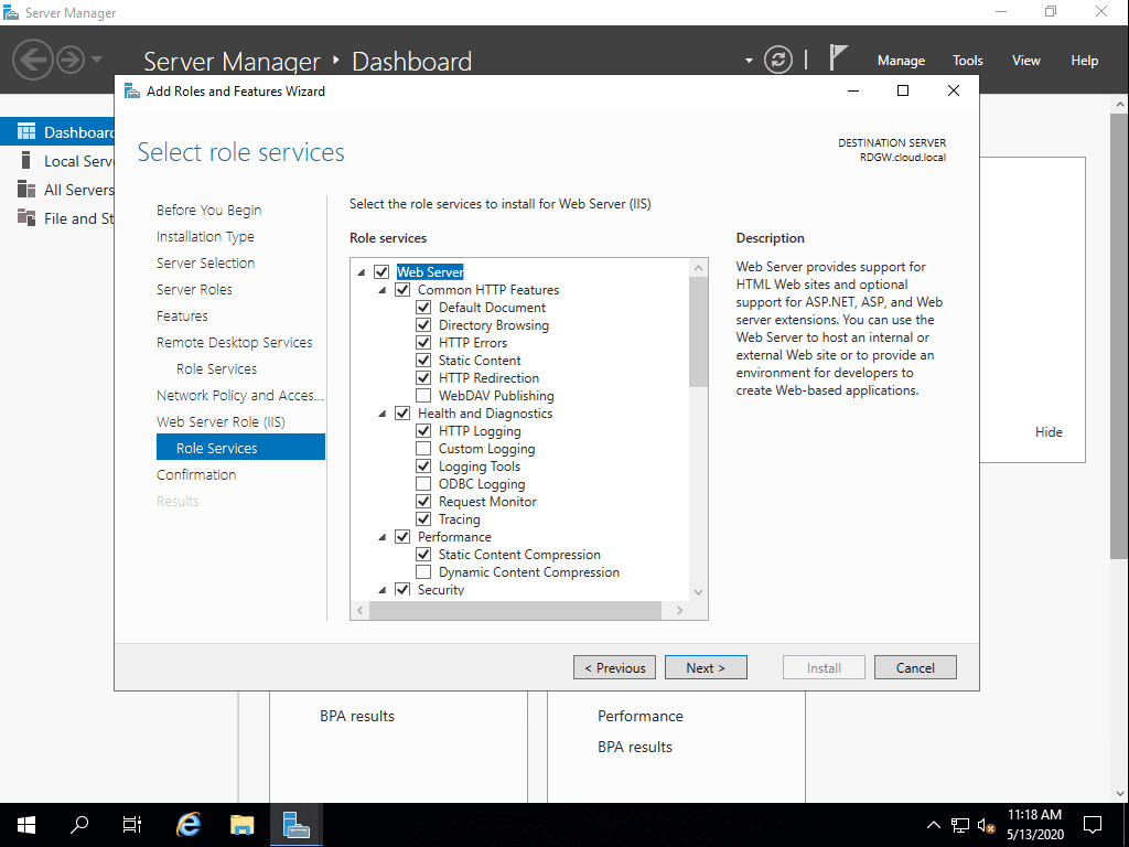 Confirm-the-role-services-added-as-part-of-the-Remote-Desktop-Services-installation Remote Desktop Gateway Server 2016 or 2019 Configuration