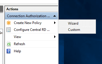 Create-a-new-connection-authorization-policy-with-Wizard-or-Custom Remote Desktop Gateway Server 2016 or 2019 Configuration