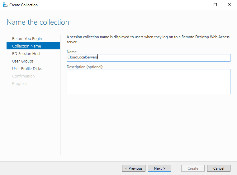 Creating-a-collection Windows Server 2019 RD Web Access Configuration