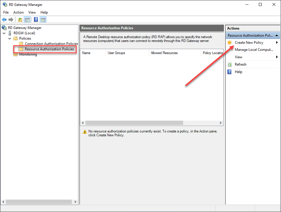 Creating-a-resource-authorization-policy Remote Desktop Gateway Server 2016 or 2019 Configuration