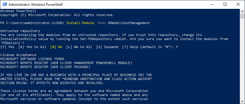 Install-RDWebClientManagement-using-PowerShell-in-Windows-Server-2019 Windows Server 2019 RD Web Access Configuration