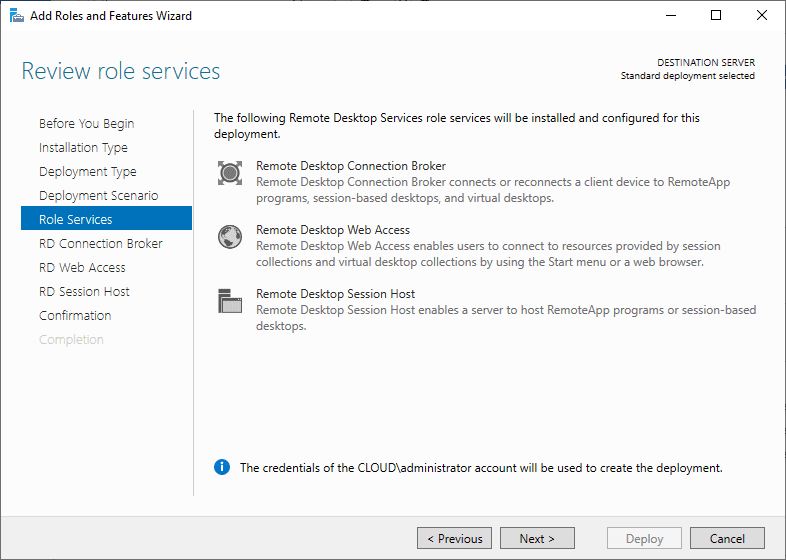 Installing-role-services Windows Server 2019 RD Web Access Configuration