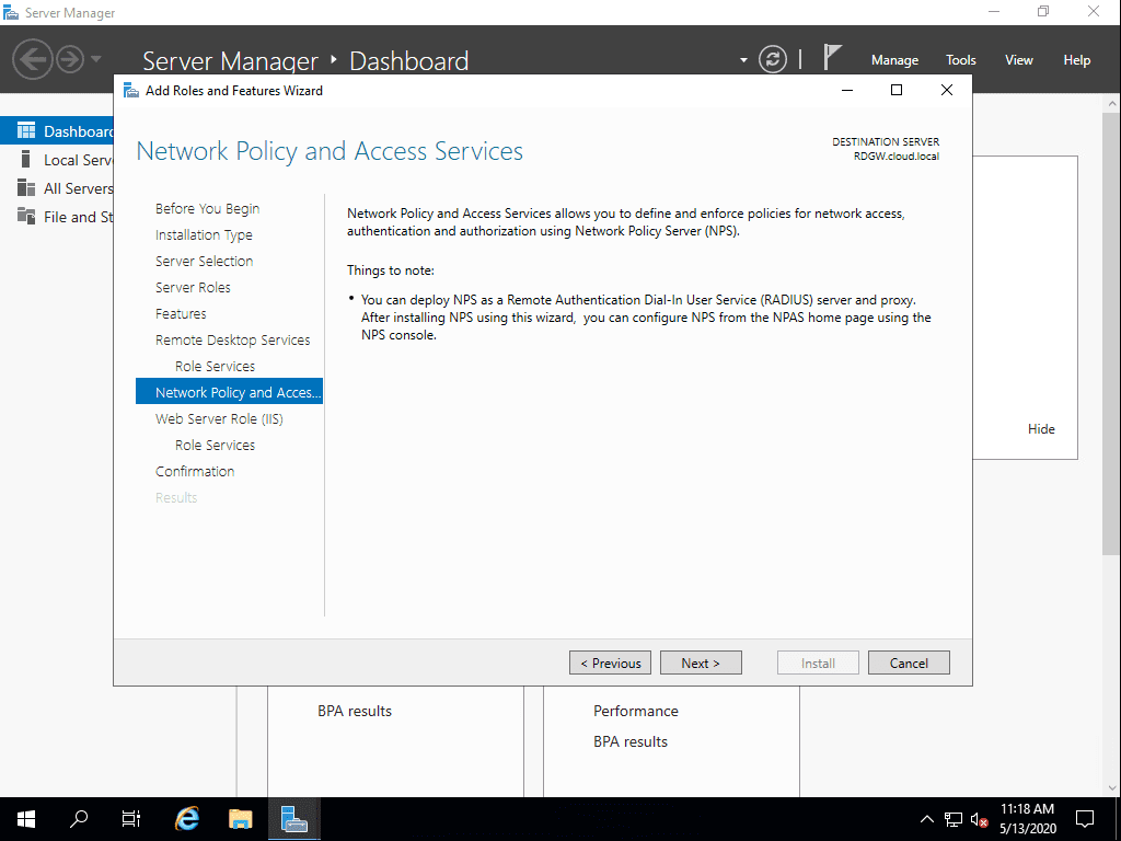 Network-Policy-Server-is-installed-with-the-Remote-Desktop-Gateway-Role-service Remote Desktop Gateway Server 2016 or 2019 Configuration