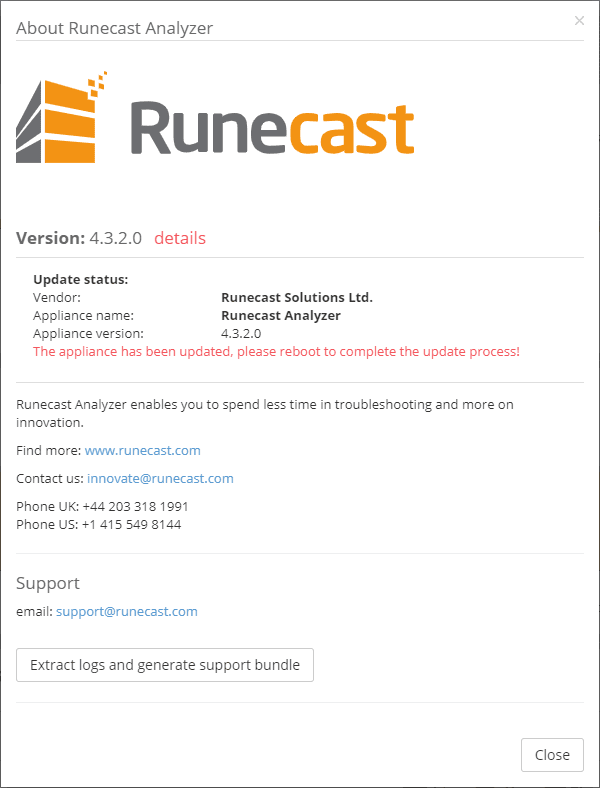 Prompt-to-reboot-the-Runecast-appliance-for-updates Latest Runecast Analyzer adds Enterprise Console and vSphere 7 Support