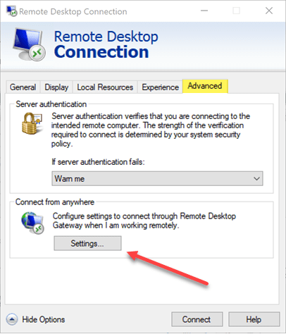 Remote-Desktop-MSTSC-settings Remote Desktop Gateway Server 2016 or 2019 Configuration