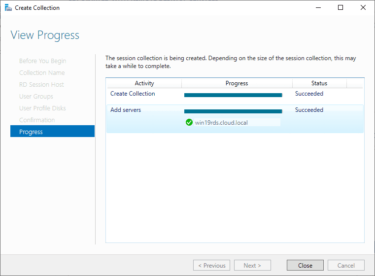 Session-Collection-created-successfullly Windows Server 2019 RD Web Access Configuration