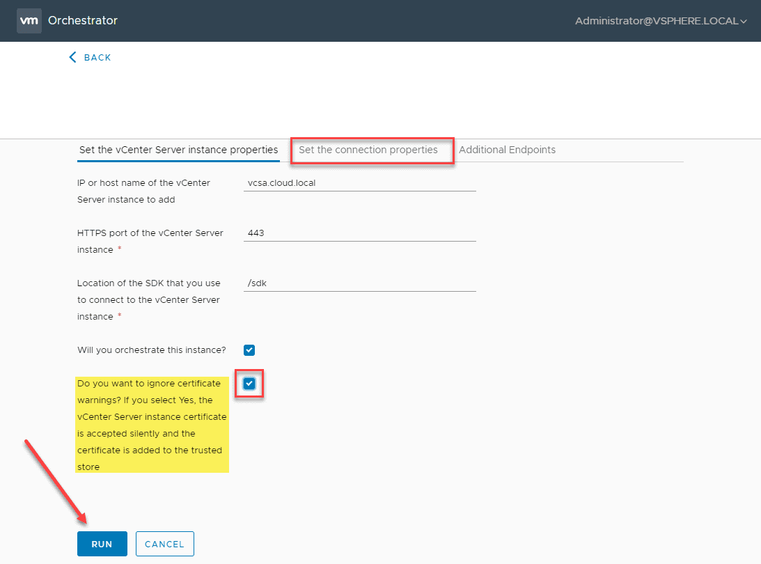 Set-the-connecton-properties-and-run-the-workflow VMware vRealize Orchestrator 8.1 New Features and Installation