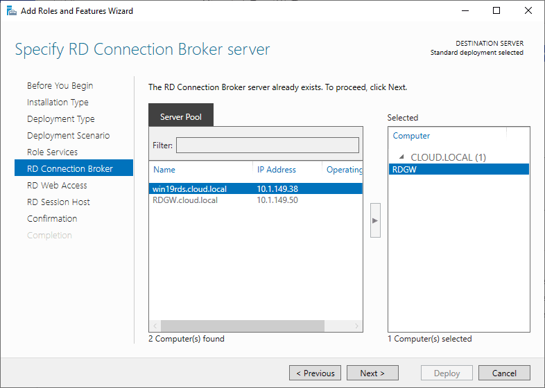 Specify-RD-Connection-Broker-server Windows Server 2019 RD Web Access Configuration