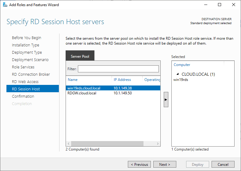 Specify-RD-Session-host-servers Windows Server 2019 RD Web Access Configuration