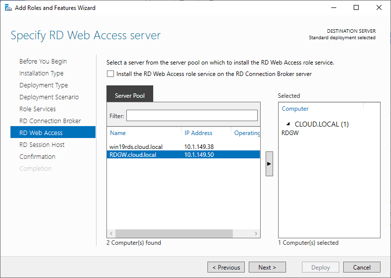 Specify-RD-Web-Access-Server Windows Server 2019 RD Web Access Configuration
