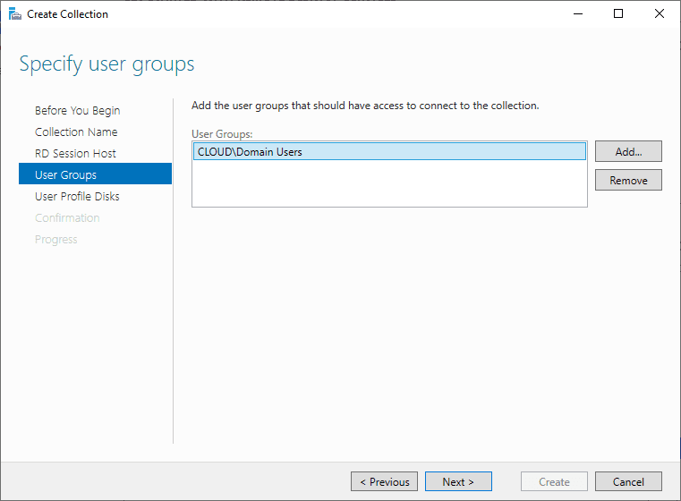 Specify-user-groups Windows Server 2019 RD Web Access Configuration