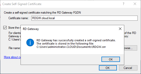 The-self-signed-certificate-is-created-successfully-and-the-certificate-is-exported Remote Desktop Gateway Server 2016 or 2019 Configuration